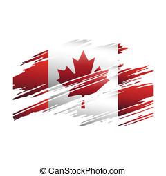 bandera, canadá, en, el, forma, huellas, brus