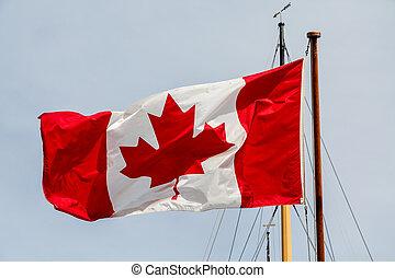 bandera canadiense, en, barco, mástil