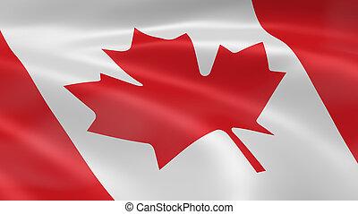 bandera canadiense, en el viento