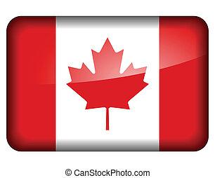 bandera, canadiense, icono