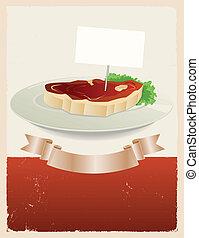 bandera, carne, rojo, restaurante