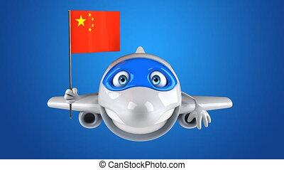 bandera, chińska litera, samolot, zabawa, rysunek, 3d