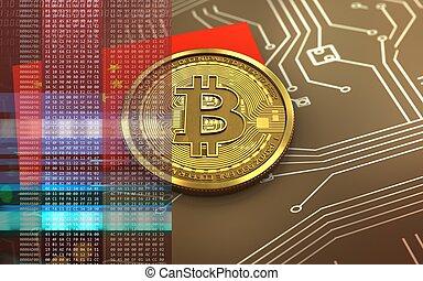 bandera, china, bitcoin, 3d