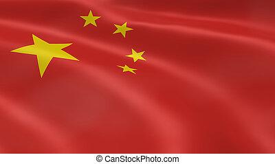 bandera, chino, viento