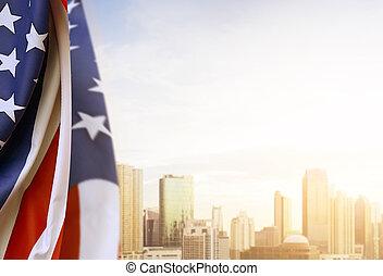 bandera, cityscapes, plano de fondo, norteamericano