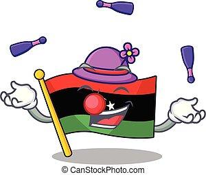 bandera, clings, pared, libia, malabarismo, mascota
