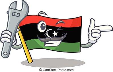 bandera, clings, pared, libia, mascota, mecánico