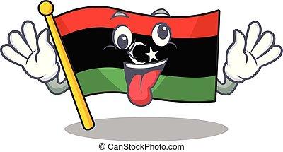 bandera, clings, pared, loco, libia, mascota