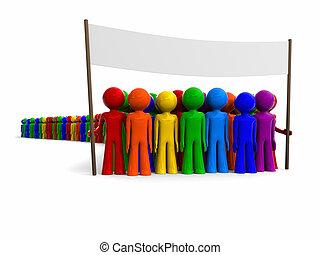 bandera, colorido, multitud