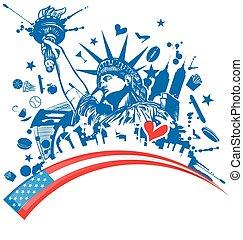 bandera, conjunto, estatua, libertad, icono