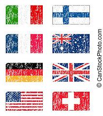 bandera, conjunto, grunge