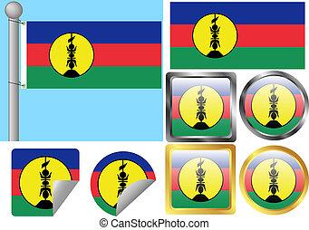 bandera, conjunto, nueva caledonia