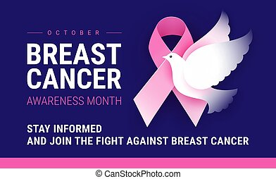 bandera, conocimiento, pecho, octubre, mes, cáncer
