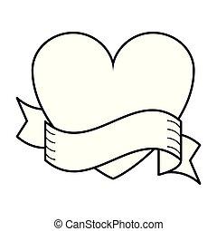 bandera, corazón, blanco, negro, cinta