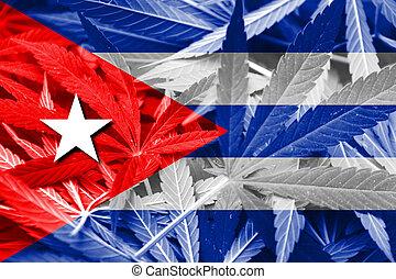 bandera cuba, en, cannabis, fondo., droga, policy.,...