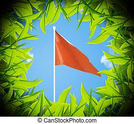 bandera, czerwony