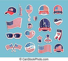 bandera, día, de, el, estados unidos de américa, themed, recuerdos, colección