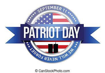 bandera, day., nosotros, patriota, sello