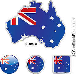 bandera, de, australia, en, mapa, y, tela, botones, formas