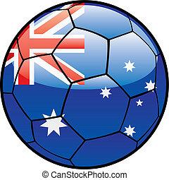 bandera, de, australia, en, pelota del fútbol