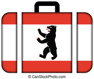 bandera, de, berlin., maleta, icono, viaje, y, transporte, concepto
