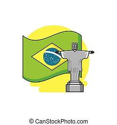 bandera, de, brasil, con, corcovado, cristo