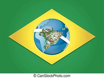 bandera, de, brasil