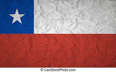 bandera de chile, con, el, efecto, de, papel arrugado, y, grunge