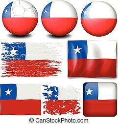 bandera de chile, en, diferente, diseños