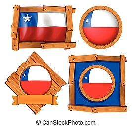 bandera de chile, en, diferente, marcos
