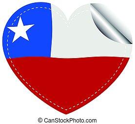 bandera de chile, en, forma corazón