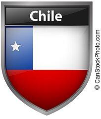 bandera, de, chile, en, insignia