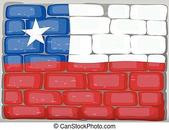 bandera de chile, en, la pared