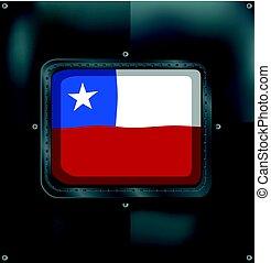 bandera de chile, en, metal, marco