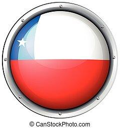 bandera de chile, en, redondo, insignia