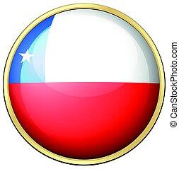 bandera de chile, en, redondo, marco