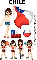 bandera de chile, y, mujer, atleta