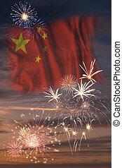 bandera de china, fuegos artificiales, república