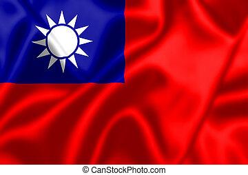bandera de china, soplar, república, viento