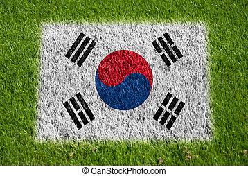 bandera, de, corea, en, pasto o césped