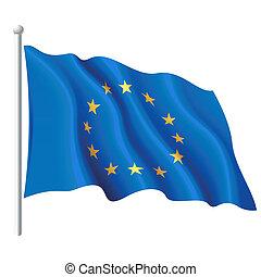 bandera, de, el, unión europea