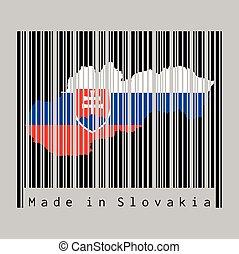 bandera de eslovaquia, text:, barcode, contorno, negro, slovakia., conjunto, forma, plano de fondo, color, hecho, mapa, gris