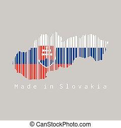 bandera de eslovaquia, text:, barcode, contorno, slovakia., conjunto, forma, plano de fondo, color, hecho, mapa, gris