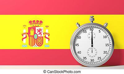 bandera, de, españa, con, cronómetro