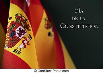 bandera, de, españa, y, texto, constitución, día, en, español