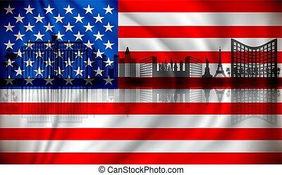 bandera, de, estados unidos de américa, con, las vegas, contorno