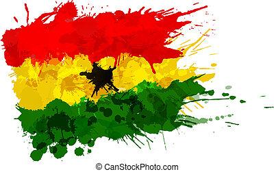 bandera de ghana, hecho, salpicaduras, colorido