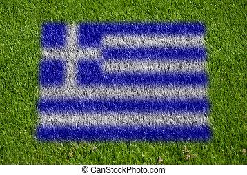 bandera, de, grecia, en, pasto o césped