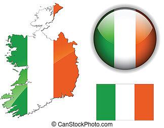 bandera de irlanda, mapa, y, brillante, botón