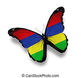 bandera de isla mauricio, blanco, aislado, mariposa